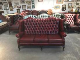 Stunning oxblood leather chesterfield Queen Anne highback 3 seater sofa UK delivery