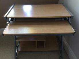 PC Computer desk / Trolly on casters with keyboard tray