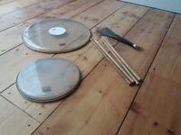 drum skins, drum sticks and brushes