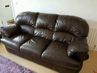 3 seater Italian brown leather sofa and 1 seater leather chair
