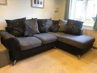 Black and grey chaise corner sofa and large swivel chair
