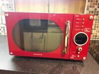 Red retro microwave