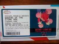 Queens of the stone age, finsbury park, 1 physical ticket
