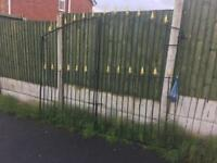 8ft wide 6ft tall driveway gates Wrought Iron £130 with all hinges and brackets ready to fit