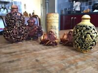 Authentic Scent jars and assorted bone carved ornaments from China,,
