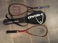 Wilson and Head Squash rackets plus case