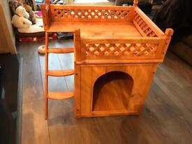Dog house / kennel with roof terrace, wooden, new. Great Christmas present