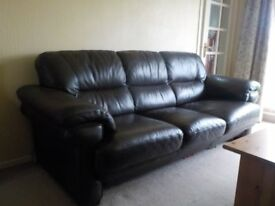 Comfy Leather Couch and Arm Chair
