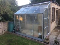 Lean to aluminium greenhouse, staging, water butt etc