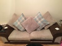 Large 2 Seater Sofa - Cream and Brown