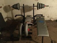 Weight lifting bench & weights plus fitness bench