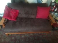For Sale - Two seater wooden Futon with dark brown nubuck leather mattress