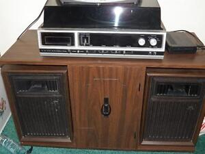 Vintage Stereo with turntable and 8-track , w/ matching stand