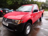 2010 MITSUBISHI L200 SINGLE CAB ONLY 37000 MILES , RED , NO VAT , SERVICED , FREE UK DELIVERY