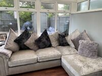Silver and black chaise sofa