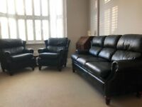 Pendragon bottle Green Leather 3 Seater Sofa And 2 Armchairs