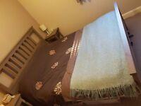 Large Double Bed (160cm) & Mattress / Grey-Brown / Wood Frame / IKEA HEMNES