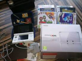 Nintendo 3ds with box, 6 games and case