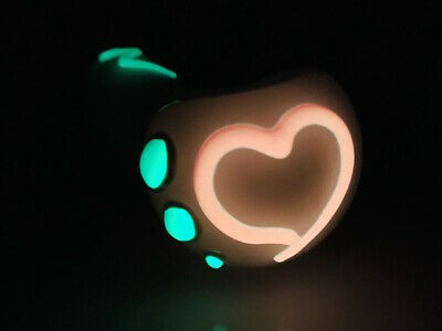 """4"""" INCH Pipes Heart Glow in the Dark TOBACCO Smoking Glass Pipe bowl  Hand Pipes Glass Pipes Bowls"""
