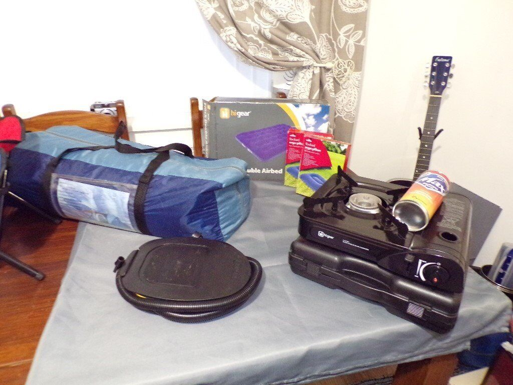 Camping Bundle 4 Man Tent Blow Up Bed And Pump Gas Cooker