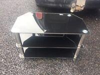Black Glass Slimline TV Stand
