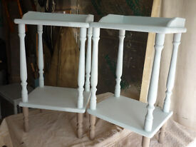 TWO BEDSIDE TABLES - DUCK EGG BLUE FINISH
