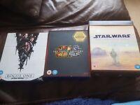 Star wars films 1-7 plus Rogue one on Blu ray.