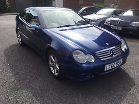 Mercedes C180 Kompressor Coupe automatic 3 Door blue full service history very good condition