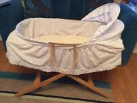 Mamas and Papas Moses Basket and stand plus various bedding