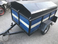 Box trailer with metal cover / lid and fold down back - Built in lights - like a tow a van