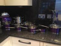 Morphy Richards purple / plum pots and pans set