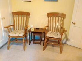Light solid oak armchairs