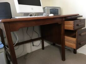 Solid wood desk with two drawers 1m20 x 68cm