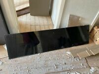 Black glass bath side panel for bathroom