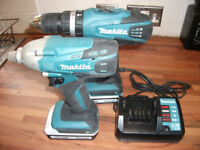 Makita 18v Cordless Hammer Drill + Impact Gun, 2 Battery + Charger Cost £220! GREAT CONDITION!