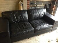 office Leather 3 seater sofa