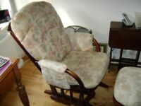 Dutailier glider nursing chair and stool. Excellent clean condition