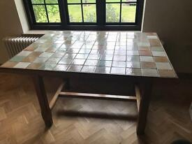 Beautiful Solid Oak Kitchen Table with tiled top