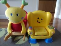 Baby rocking chair and fisher price chair