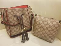 LADIES BEIGE GUCCI 2 PIECE HANDBAG SET