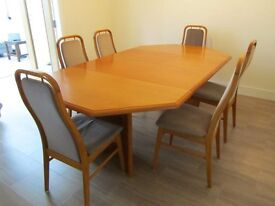 VINTAGE DANISH FARSTRUP TEAK DINING EXTENDABLE TABLE & 6 CHAIRS