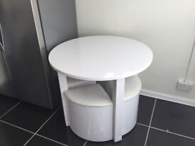 HIGH GLOSS DINING SET & 4 WHITE CHAIRS