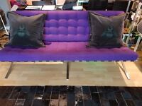 Barcelona Chair, Foot Stool and 3 Seater Sofa in Purple Chasmere £300.00