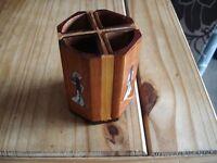 Vintage Wooden Pen Pot