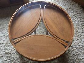 Rare NATHAN TRINITY Solid Wooden Glass Top Coffee Nest of Tables