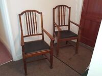 Oak Library Chairs Matching Pair Brilliant Condition