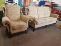 Highback patterned fabric three seater with armchair