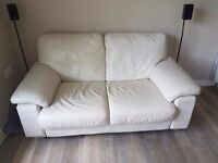 Cream leather 2 seater sofa in great condition
