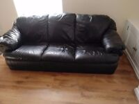 Black Leather 2 Seater & 3 Seater Sofas
