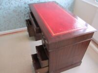 Regency Desk, Faux Leather inlay Dovetailed joints on drawers. Desk in 3 sections. Wickford, Essex